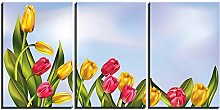 ZXYJJBCL Beautiful Tulip Plant Triptych Canvas