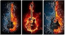 ZXYJJBCL Burning Guitar Triptych Canvas Print Wall