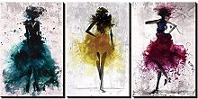 ZXYJJBCL Colored Mannequin Triptych Canvas Print