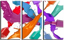 ZXYJJBCL Colored Nail Polish Triptych Canvas Print
