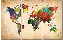 ZXYJJBCL Colored World Map Triptych Canvas Print