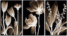 ZXYJJBCL Creative Flower Triptych Canvas Print