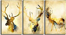 ZXYJJBCL Deer Animal Triptych Canvas Print Wall