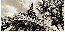 ZXYJJBCL Eiffel Tower Triptych Canvas Print Wall