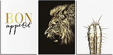 ZXYJJBCL Golden Lion Animal Triptych Canvas Print