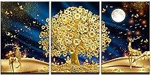 ZXYJJBCL Golden Money Tree Triptych Canvas Print