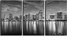ZXYJJBCL Gray Seaside City Triptych Canvas Print