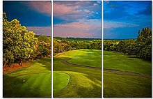 ZXYJJBCL Green Lawn Triptych Canvas Print Wall Art