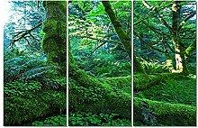 ZXYJJBCL Green Wood Triptych Canvas Print Wall Art