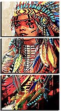 ZXYJJBCL Indian Beauty Triptych Canvas Print Wall