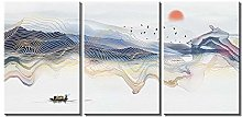 ZXYJJBCL Oil Painting Creative Mountain Triptych