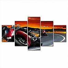 ZXYJJBCL Red Cool Motorcycle 5 Panel Wall Art