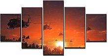 ZXYJJBCL Sunset Airplane 5 Panel Wall Art Print On
