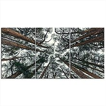 ZXYJJBCL Towering Woods Triptych Canvas Print Wall