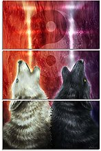 ZXYJJBCL Two Wolves Animals Triptych Canvas Print