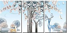 ZXYJJBCL White Deer Animal Triptych Canvas Print