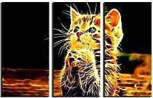 ZXYJJBCL Wishing Kitten Animal Triptych Canvas