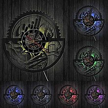 ZYBBYW Barbecue wall hanging art wall clock family