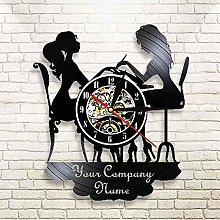 ZYBBYW Custom wall clock DIY nail salon name vinyl