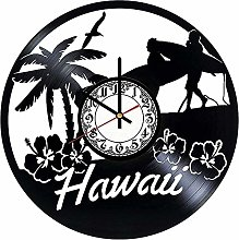 ZYBBYW Hawaii Vinyl Wall Clock-Retro Vinyl Record