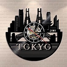ZYBBYW Tokyo Cityscape Vinyl Record Wall Clock