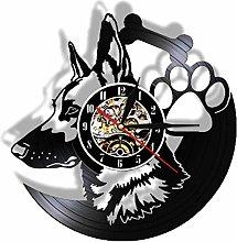 ZYBBYW Vinyl Record Clock Vintage German Shepherd