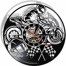 ZYBBYW Vinyl record wall clock motorcycle racing