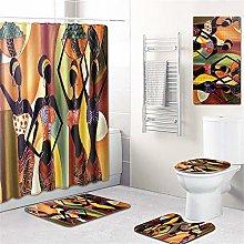 ZYHA Bathroom Curtains Rugs Set Of 5 African Women