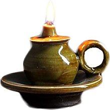 ZYJTGH Buddha Ceramic Old Oil Lamp,Retro Kerosene