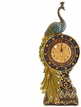 ZYL-YL Green Peacock Love Desk Clock Tower Living