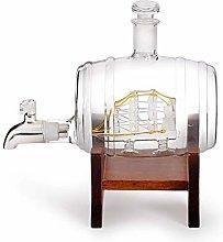 ZYLZL Barware Barrel Whiskey Decanter with