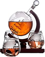 ZYLZL Barware Decanter with 4 Etched Globe Whisky