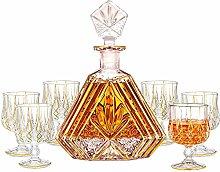 ZYLZL Barware Gold Trim Whiskey Decanter with 6