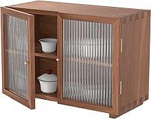 ZYR Black Walnut Small Cabinet Glass Door Tea Set