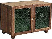 ZYR Black Walnut Storage Cabinet Double Glass Door