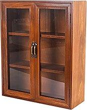 ZYR Desktop Storage Cabinet Wooden Glass Storage