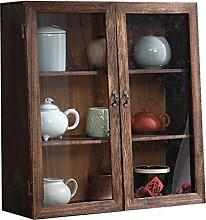 ZYR Solid Wood Tea Cabinet, Desktop Dust-proof
