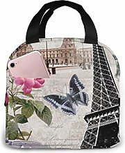 ZYWL Tower and Car Printed Insulated Lunch Bag for