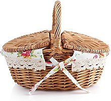 Zyyini Handmade Wicker Picnic Basket Shopping