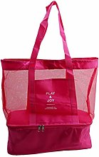 ZYYXB Mesh Beach Tote Bag Insulated Picnic Cooler