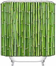 ZZ7379SL Bamboo door green natural shower curtain