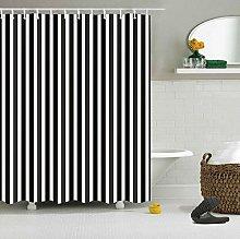 ZZ7379SL Black and white stripes Bathroom curtain