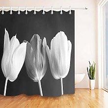 ZZ7379SL Black and white tulip flowers Bathroom