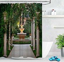 ZZ7379SL Green ivy pillar garden scene Bathroom