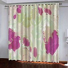 ZZDXW Blackout Curtains for Bedroom Beige Purple