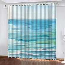 ZZDXW Blackout Curtains for Bedroom Blue Green Sea