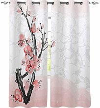 ZZDXW Blackout Curtains for Bedroom White Pink