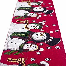 ZZFF Christmas Embroidered Table Runner Handwoven