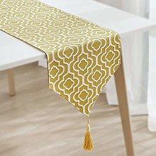 ZZFF Cotton Linen Table Runner,Modern Geometric