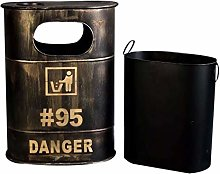 ZZFF Rustic Metal Trash Can,industrial Style